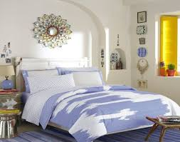 blue beige toile bedding