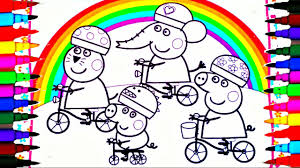 peppa pig coloring book pages kids fun art activities for children learning rainbow colors bicycles