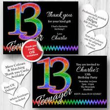 Free 13th Birthday Invitations Details About 10 Personalised 13th Birthday Party Teenager Invitations Invites Any Age T239
