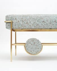 brass furniture. Bina Baitel Designs Jewelry-like Furniture Using Brass, Pink Marble And Terrazzo Fabric Brass