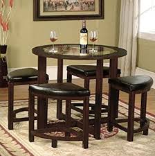 glass round dining table and 4 chairs. roundhill furniture cylina solid wood glass top round dining table with 4 chairs and