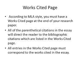 what is a works cited page mla style research paper works cited page coursework service