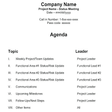 Sample Project Manager Team Meeting Agenda Conference Format Call ...