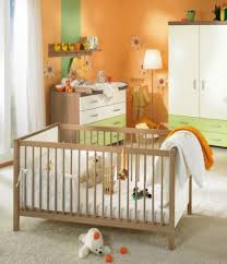 furniture, Baby Nursery Room Idea With Cute Orange Accents Wall Paint  Paired With Wooden Cradles