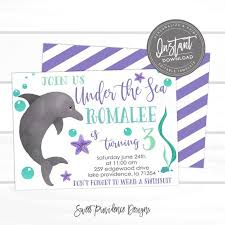 Girl Birthday Invitation Template Dolphin Birthday Invitation Under The Sea Invitation Girl