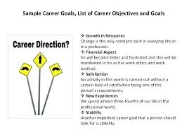 List Of Career Goals And Objectives Career Goal Examples For Resume From Elegant Template With Objective
