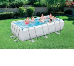 rectangle above ground swimming pool. 56442 Bestway 404*201*100cm Rectangular Super Strong Steel Tube Framing Pool Above Ground Swimming With Sand Filter Ladder-in \u0026 Accessories From Rectangle W