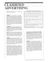 Classified Advertising | American Journal Of Occupational Therapy