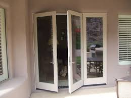 double folding glass doors exterior with wooden frame painted with white color for small house design ideas