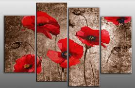 extra large 60 poppies grunge abstract red on brown 4 panel wall art  on poppy wall art uk with extra large 60 poppies grunge abstract red on brown 4 panel wall art