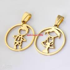 5set lot 18k gold fashion 100 stainless steel 26mm baby girl baby boy round couple pendant new gifts