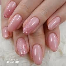 Pookaluna さんのネイルデザイン パールピンクのワンカラーネイル