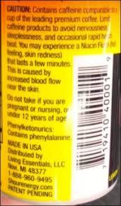 5 hour energy label