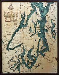 Bathymetric Map Puget Sound Washington Sound Map Lake