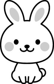 可愛いウサギの白黒イラスト イラストストック