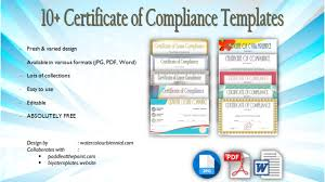 Certificate Of Compliance Template Word Certificate Of Compliance Template 10 Premium Designs