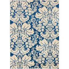 well woven sydney damask toile navy blue 8 ft x 11 ft transitional area