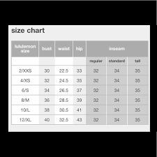 Lululemon Sizing Chart Tops Information Chart For Lululemon Sizing