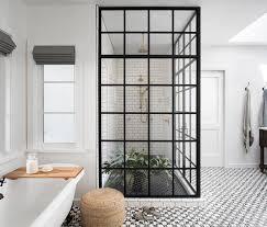 black and white cement bath floor tiles