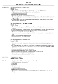 Sales Administration Resume Samples Velvet Jobs
