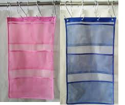 quick dry hanging caddy and bath organizer with 6 pocket hang on shower curtain rod liner hooks shower organizer mesh shower caddy