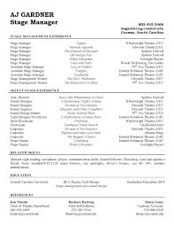 Resume Examples Stage Manager Resume Template Theatrical