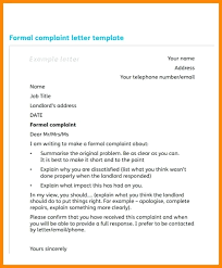 Complaint Template Formal Complaint Letter Format Template Work Lccorp Co