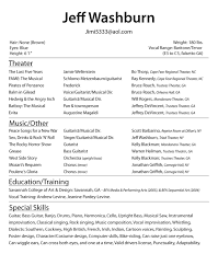 resume examples acting resume template no experience resume sample musical theatre resume