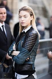 blue black leather jacket street style