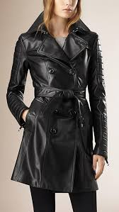 black lambskin leather womens black trench coat