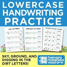 Handwritting Practice Lowercase Handwriting Practice Sky Ground And Digging In The Dirt Letters