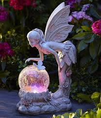 garden fairy statues. Solar Light Globe Fairy Statue Color Changing Angel Garden Path Landscape Decor Statues