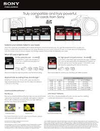 Sd Card Video Recording Time Chart Truly Compatible And Truly Powerful Sd Cards From Sony