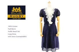 rugby ralph lauren ruffle puff sleeve long dress