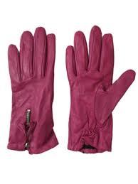 womens fuchsia pink zip leather gloves fleece lined small medium