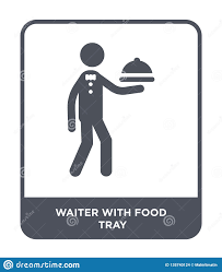 Design Style Tray Waiter With Food Tray Icon In Trendy Design Style Waiter