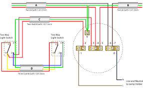 ceiling rose wiring with two way switching (older cable colours Two Switch Wiring Diagram ceiling rose wiring with two wat switching using the older cable colours two pole switch wiring diagram