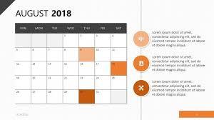 August Theme Calendar 2018 Calendar Template Free Powerpoint Template