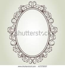 vector oval vintage frame floral sketch design frame a97 design