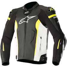 alpinestars missile leather jacket black white fluo yellow