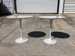 mid century modern pair of eero saarinen side tables made by knoll for
