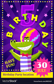 Birthday Party Poster Or Flier For Kids Royalty Free Vector