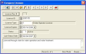 License Types Tab