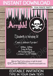 Pirate Girl Party Invitations Template Pink Black