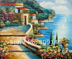 terranean landscape oil painting canvas modern art hand painted home office hotel wall art decor artwork new free