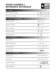 Staar Formula Chart Alg Formula Chart Pdf Staar Staar Algebra I Reference