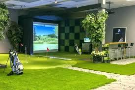 diy golf simulator garage home synthetic turf custom putting green screen simulato diy golf simulator