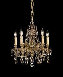 5 lights cast brass crystal chandelier