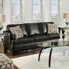 Leather Sofa with Accent Simmons Urban Onyx Leather Sofa with Accent Pillows  - traditional