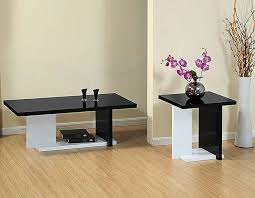 modern furniture white coffee table sets living room decorations minimalist stained varnished black wooden flowers